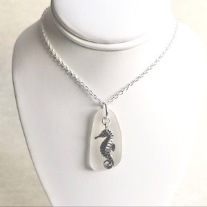 Seahorse and Genuine Sea Glass Charm Necklace